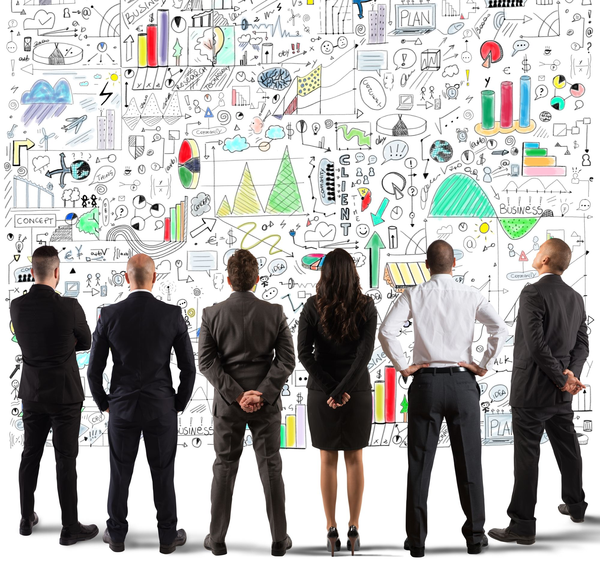 six business people looking to a complex chart-wall