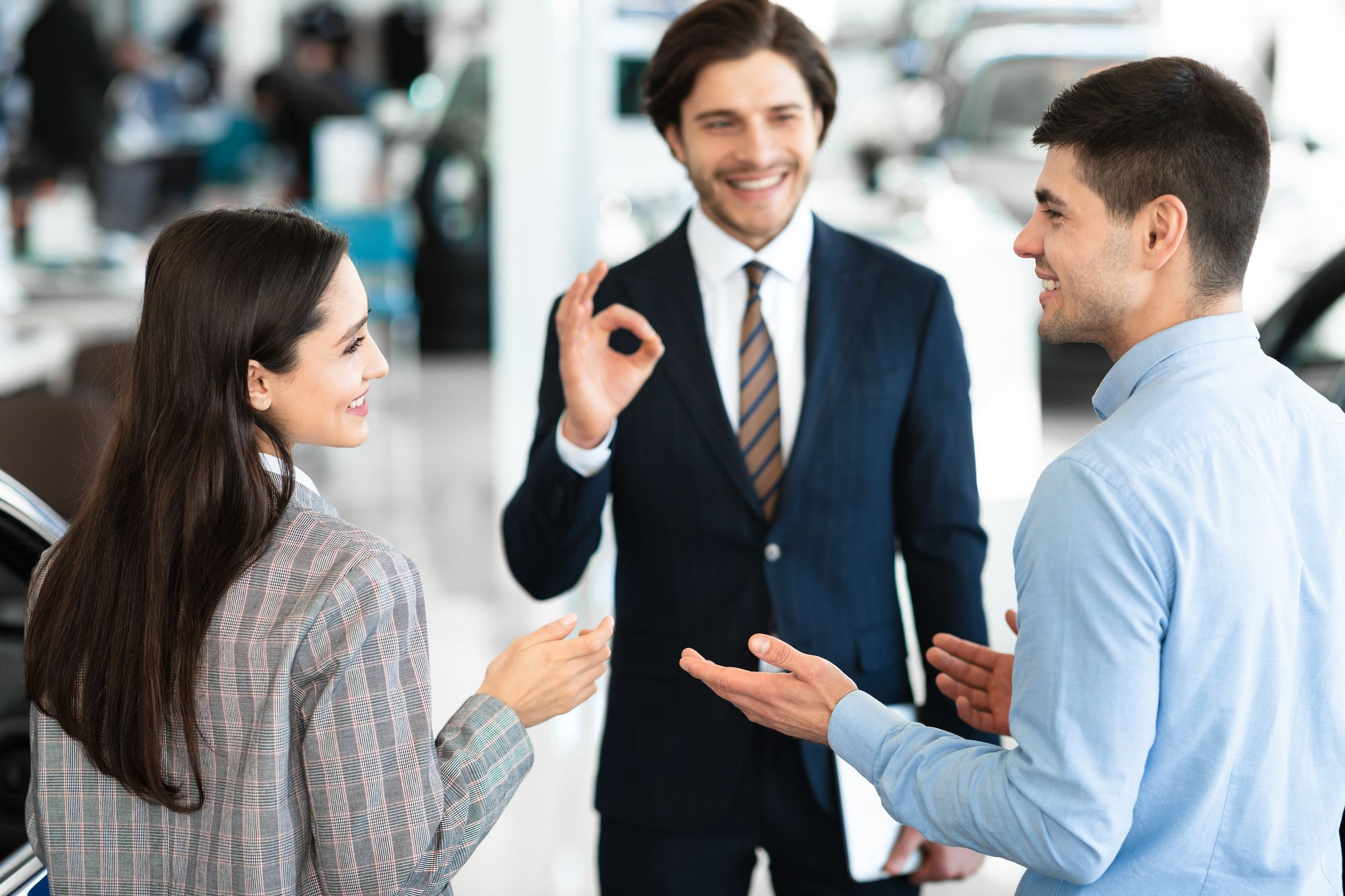 three business people buying-in an idea
