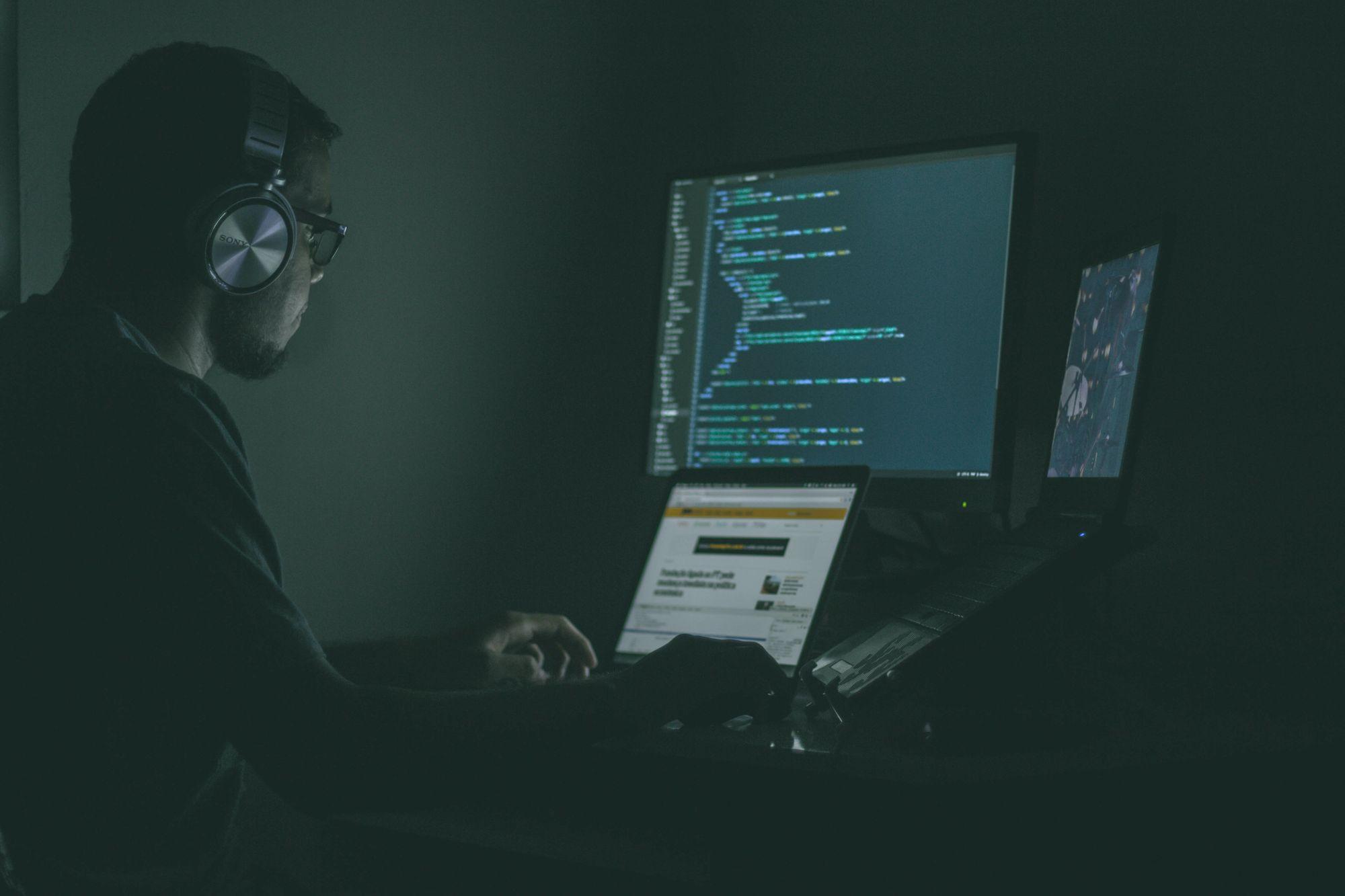 developer coding custom software development project