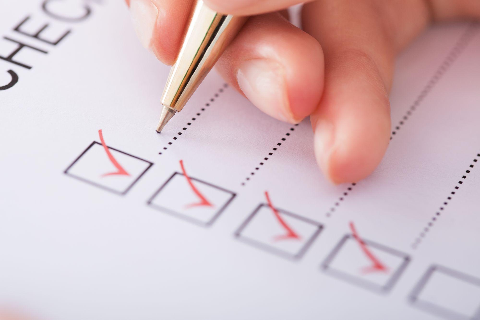 Testing and maintenance checklist