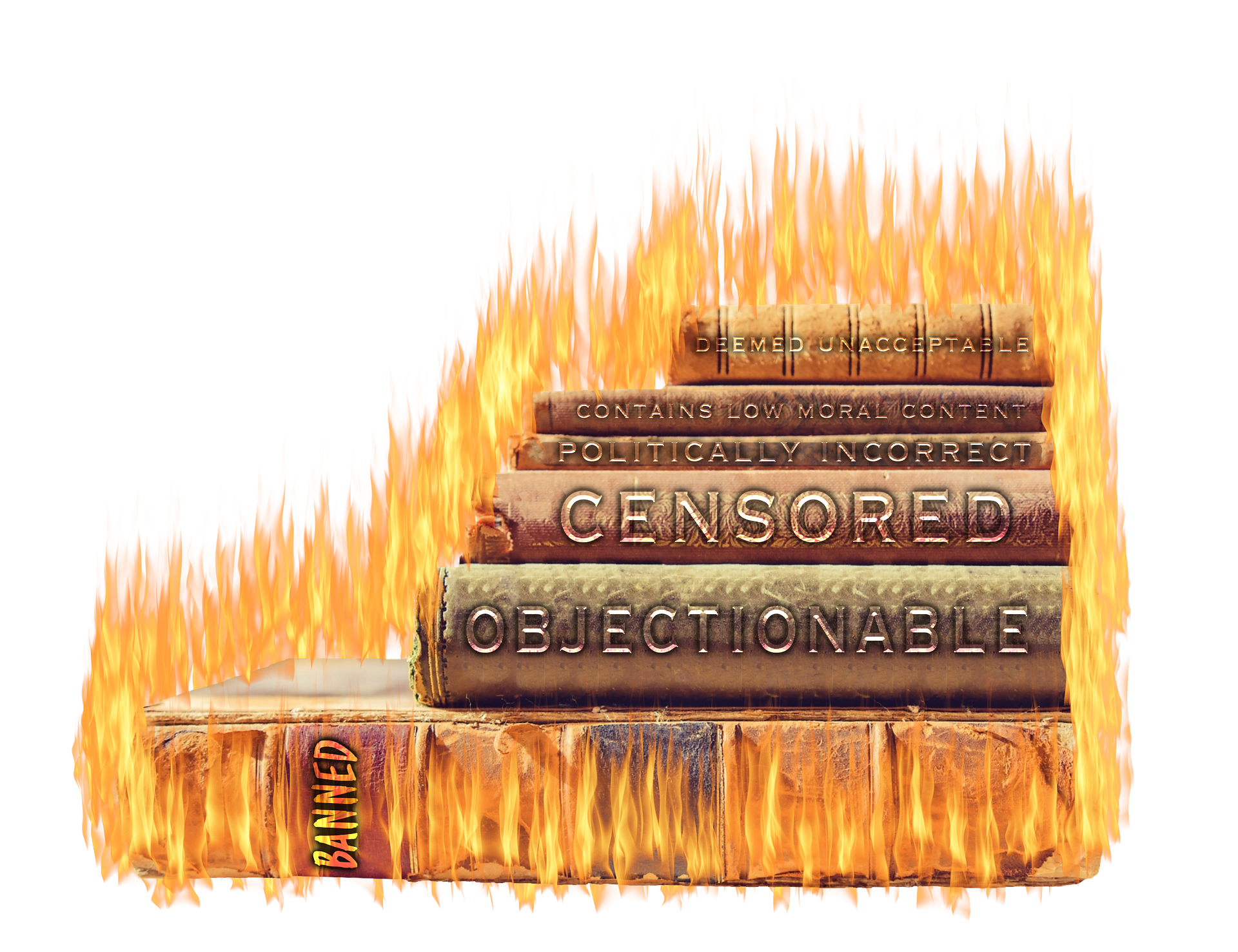 Analogy of censorship with books on fire