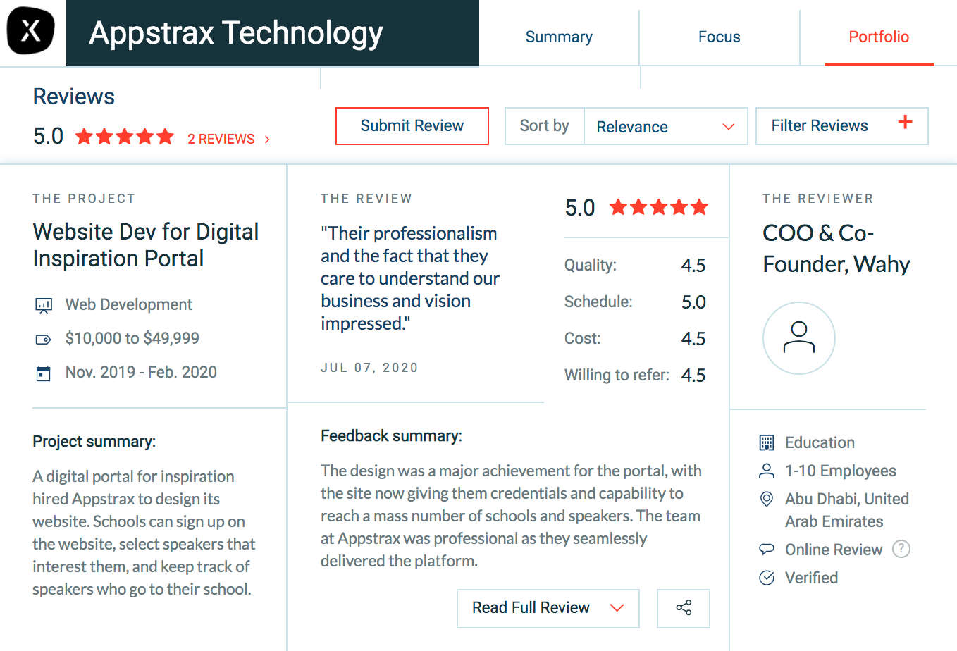 Client Review of Appstrax Technology on Clutch Website